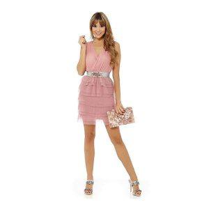 Vestido cóctel corto de fiesta rosa palo
