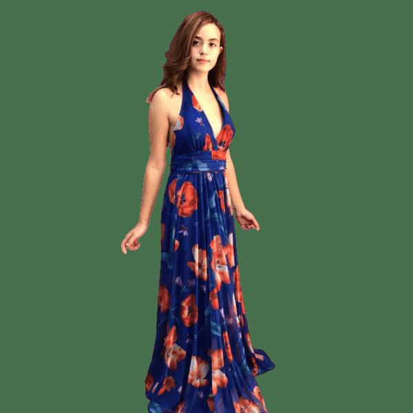 Vestido largo de fiesta estampado azul