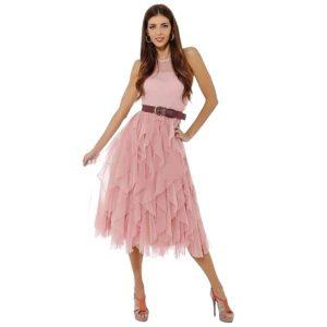 Vestido cóctel falda volantes rosa