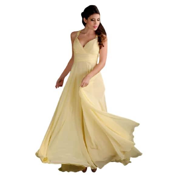 Vestido largo de fiesta amarillo