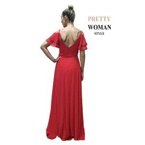 Vestido largo de fiesta rojo parte trasera