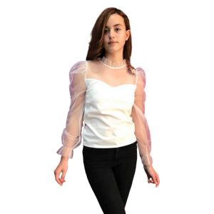 Blusa blanca mangas transparencias