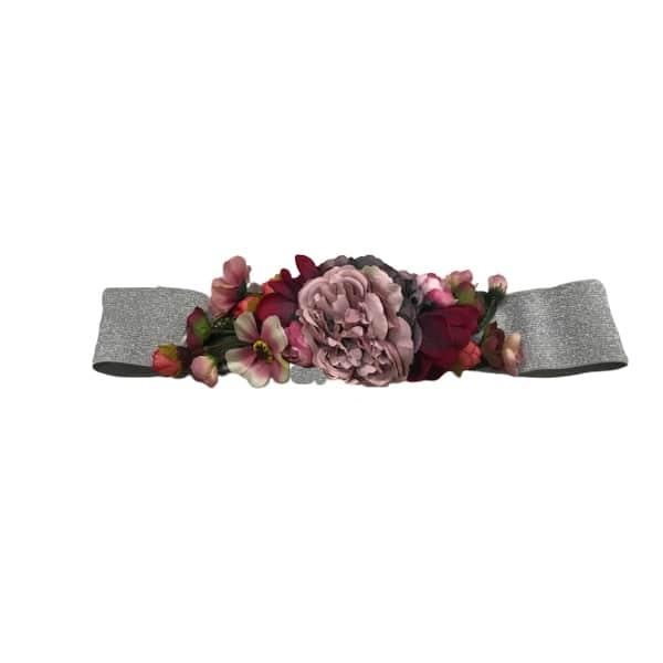 Cinturón de flores plata