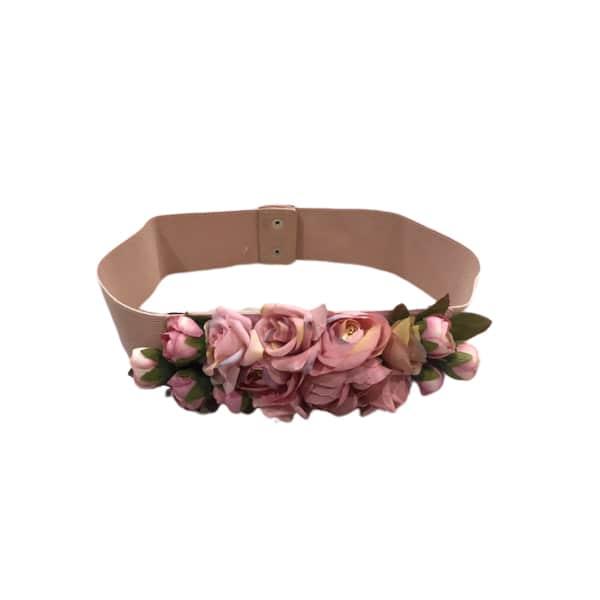 Cinturón de flores rosa palo abierto