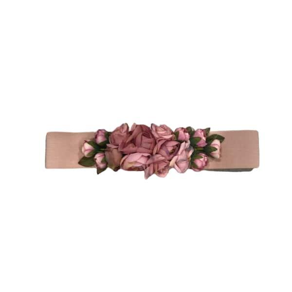 Cinturón de flores rosa palo