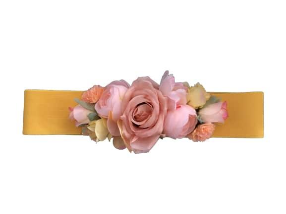 Cinturón elástico amarillo fiesta flores