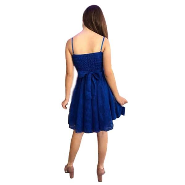 Trasera vestido corto de cóctel tul azul