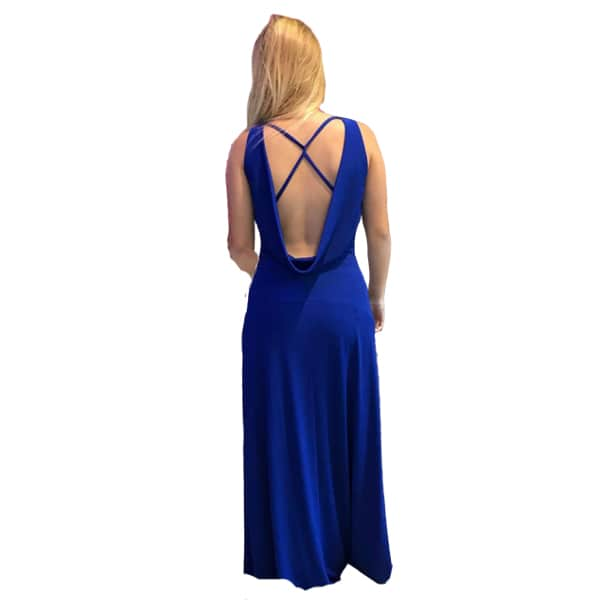Trasera vestido largo azul invitada boda