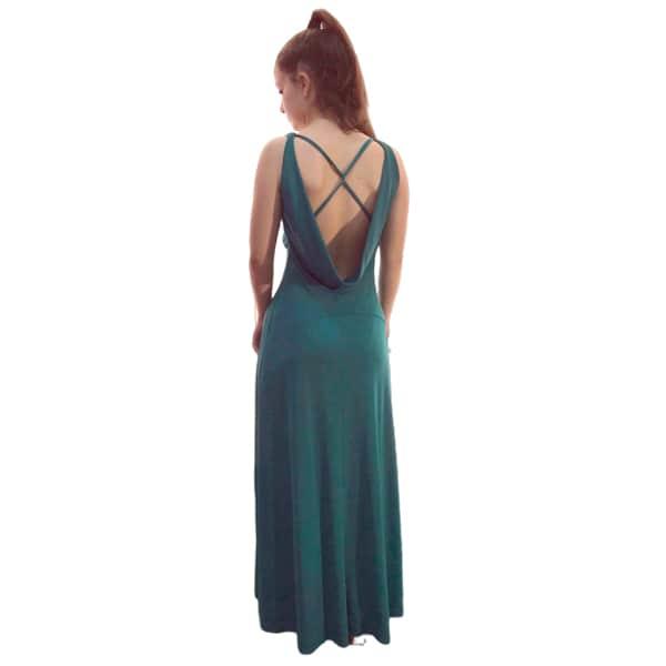 Trasera vestido largo verde espalda descubuerta