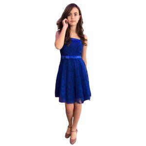 Vestido corto cóctel tul azul