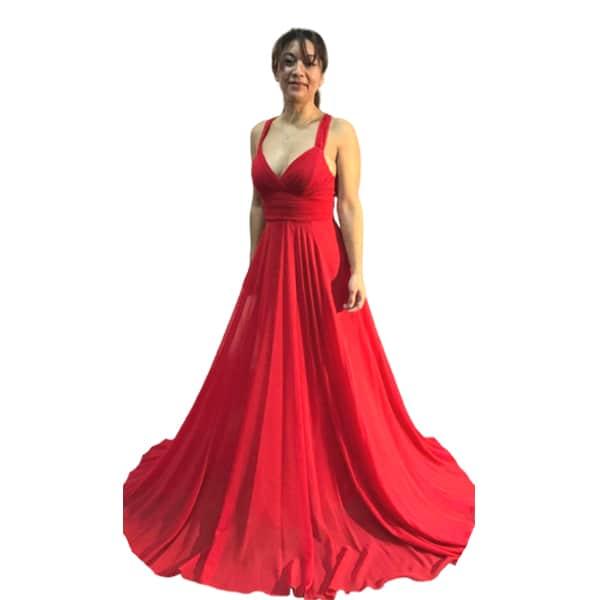 Vestido dama de honor largo de fiesta color rojo en Pretty Woman Style