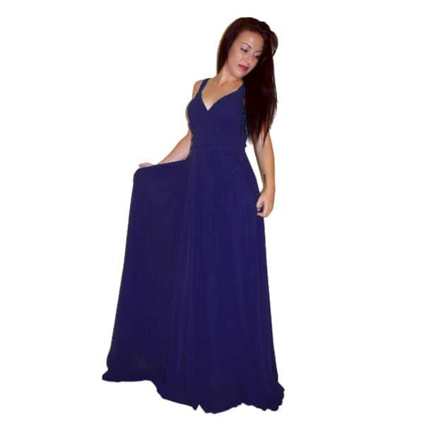 Vestido largo de fiesta azul marino