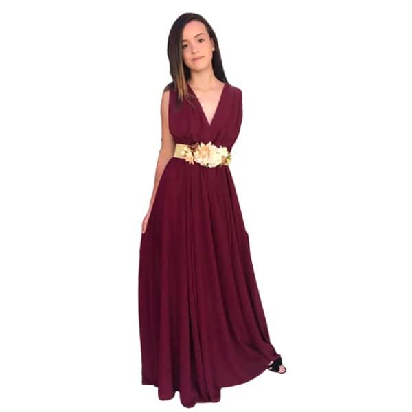 Vestido escote V vino