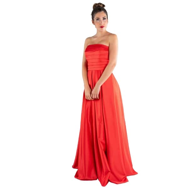 Vestido largo de fiesta rojo palabra de honor