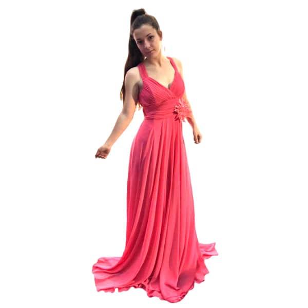 Vestido largo de fiesta coral