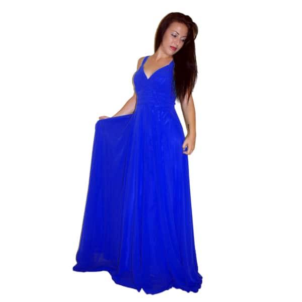 Vestido largo de fiesta azul tinta