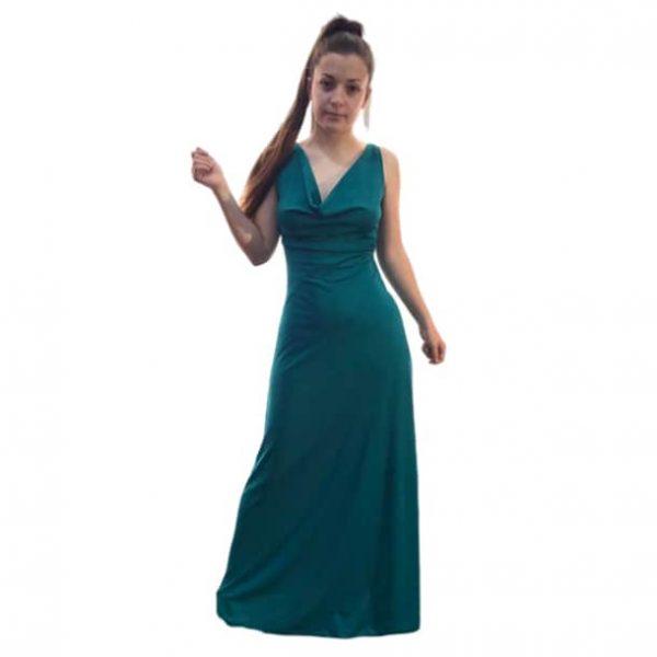 Vestido largo verde espalda cruzada