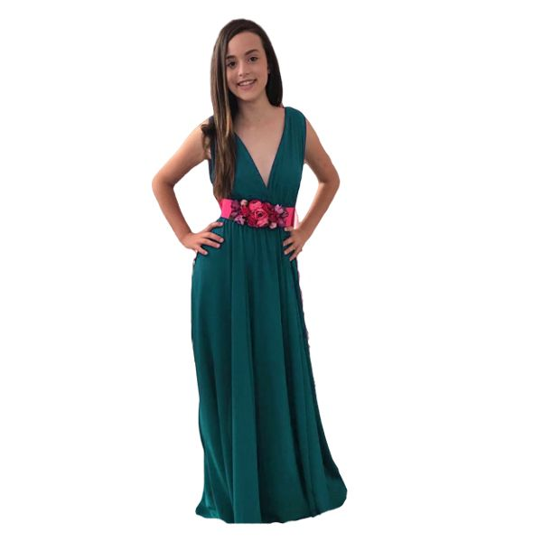 Vestido escote V verde oscuro