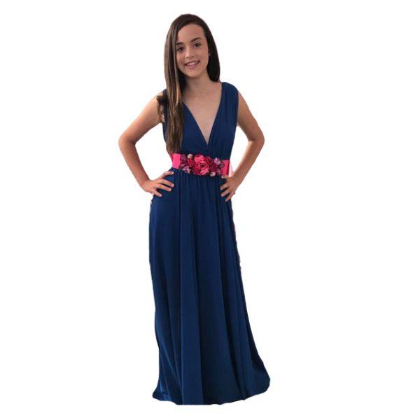 Vestido escote V azul