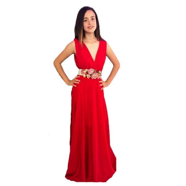 Vestido largo fiesta escote V rojo