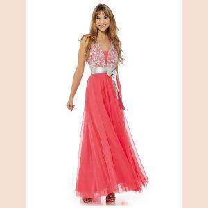 vestido-largo-de-fiesta-coral-con-cinturon-de-raso