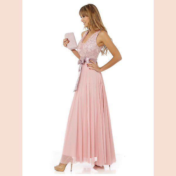 vestido-largo-de-fiesta-rosa-con-cinturon-de-raso